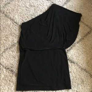 One shoulder black mini dress